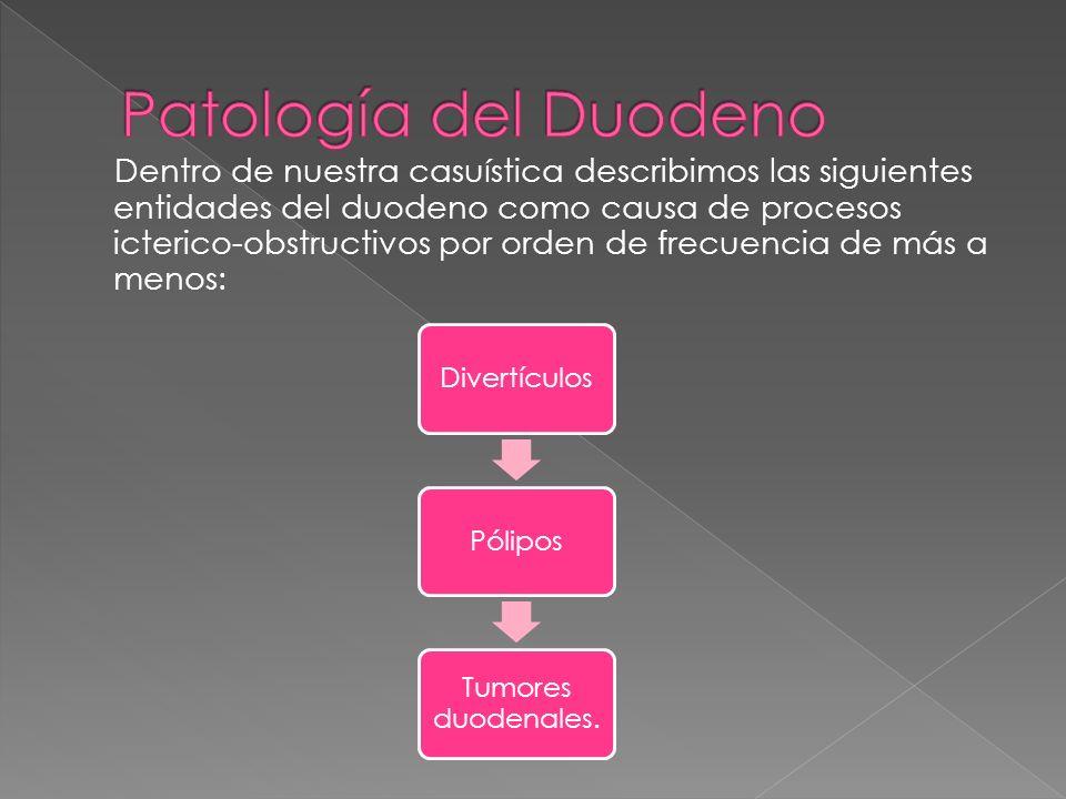 Dentro de nuestra casuística describimos las siguientes entidades del duodeno como causa de procesos icterico-obstructivos por orden de frecuencia de