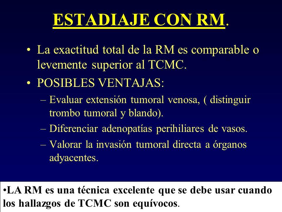 ESTADIAJE CON RM. La exactitud total de la RM es comparable o levemente superior al TCMC. POSIBLES VENTAJAS: –Evaluar extensión tumoral venosa, ( dist