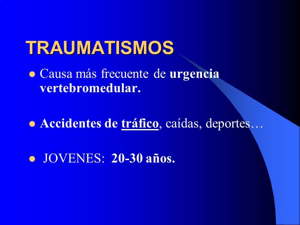 TRAUMATISMOS Causa más frecuente de urgencia vertebromedular. Accidentes de tráfico, caídas, deportes… JOVENES: 20-30 años.