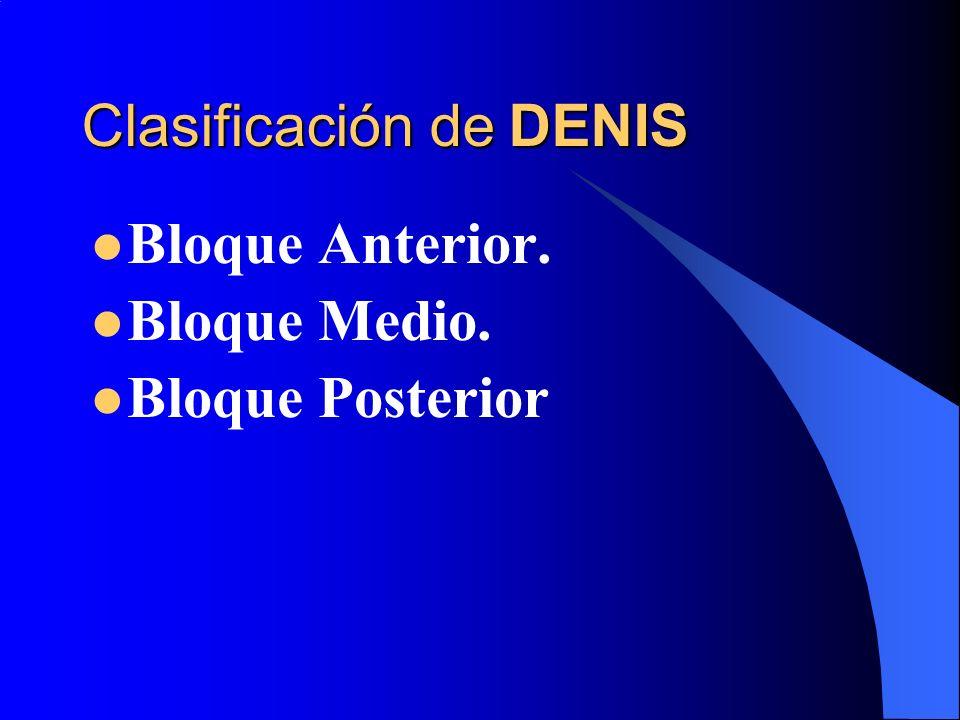 ESTABLES: Bloque anterior, apófisis transversas o espinosas. INESTABLES: Bloque medio o posterior