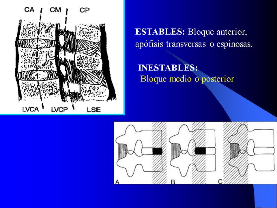 Estabilidad de la fractura vertebral: –Estables –Inestables 10% a un 20% de todas las luxaciones y fracturas son inestables.