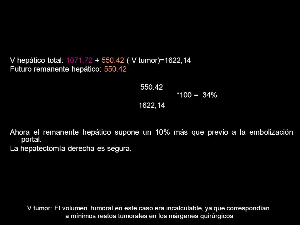 V hepático total: 1071.72 + 550.42 (-V tumor)=1622,14 Futuro remanente hepático: 550.42 550.42 1622,14 Ahora el remanente hepático supone un 10% más q