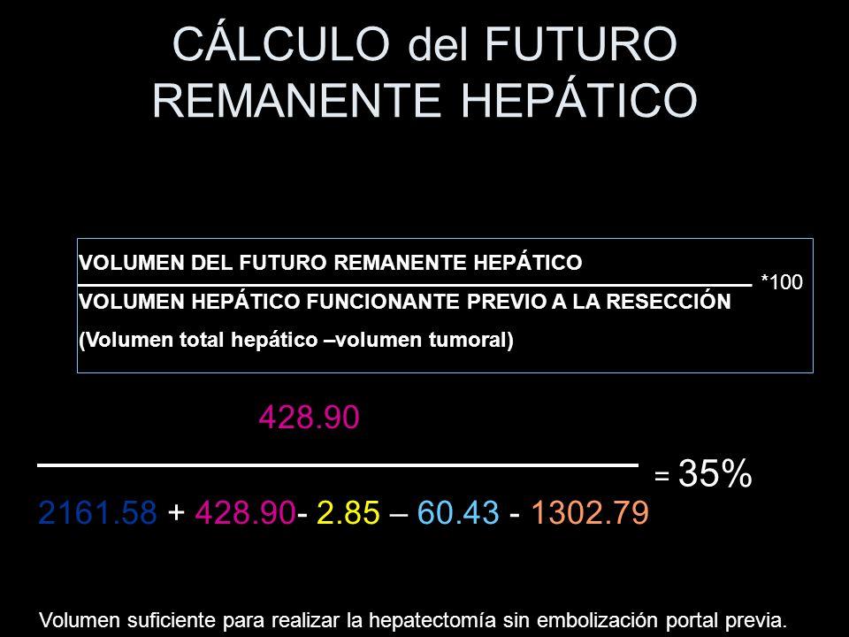 CÁLCULO del FUTURO REMANENTE HEPÁTICO 428.90 2161.58 + 428.90- 2.85 – 60.43 - 1302.79 VOLUMEN DEL FUTURO REMANENTE HEPÁTICO VOLUMEN HEPÁTICO FUNCIONAN