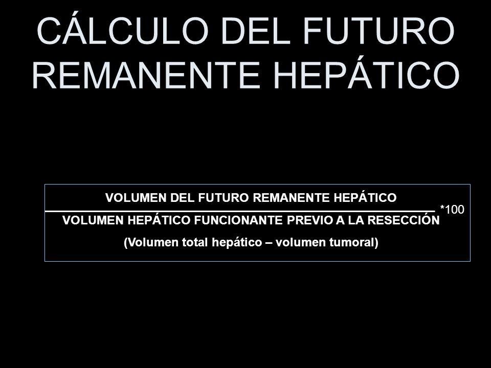 CÁLCULO DEL FUTURO REMANENTE HEPÁTICO VOLUMEN DEL FUTURO REMANENTE HEPÁTICO VOLUMEN HEPÁTICO FUNCIONANTE PREVIO A LA RESECCIÓN (Volumen total hepático