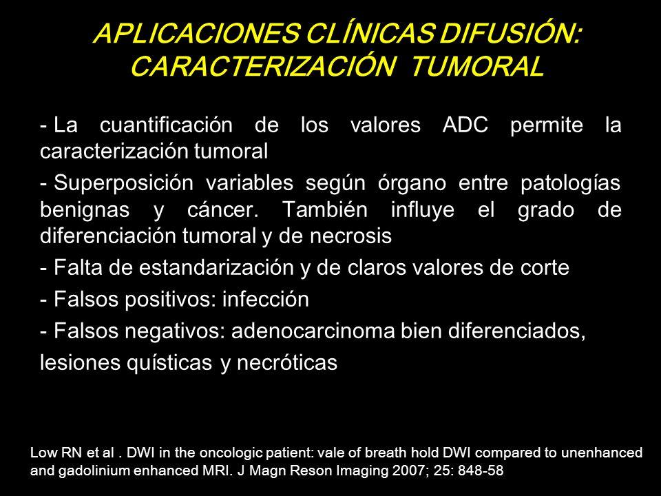 APLICACIONES CLÍNICAS DIFUSIÓN: CARACTERIZACIÓN TUMORAL - La cuantificación de los valores ADC permite la caracterización tumoral - Superposición vari