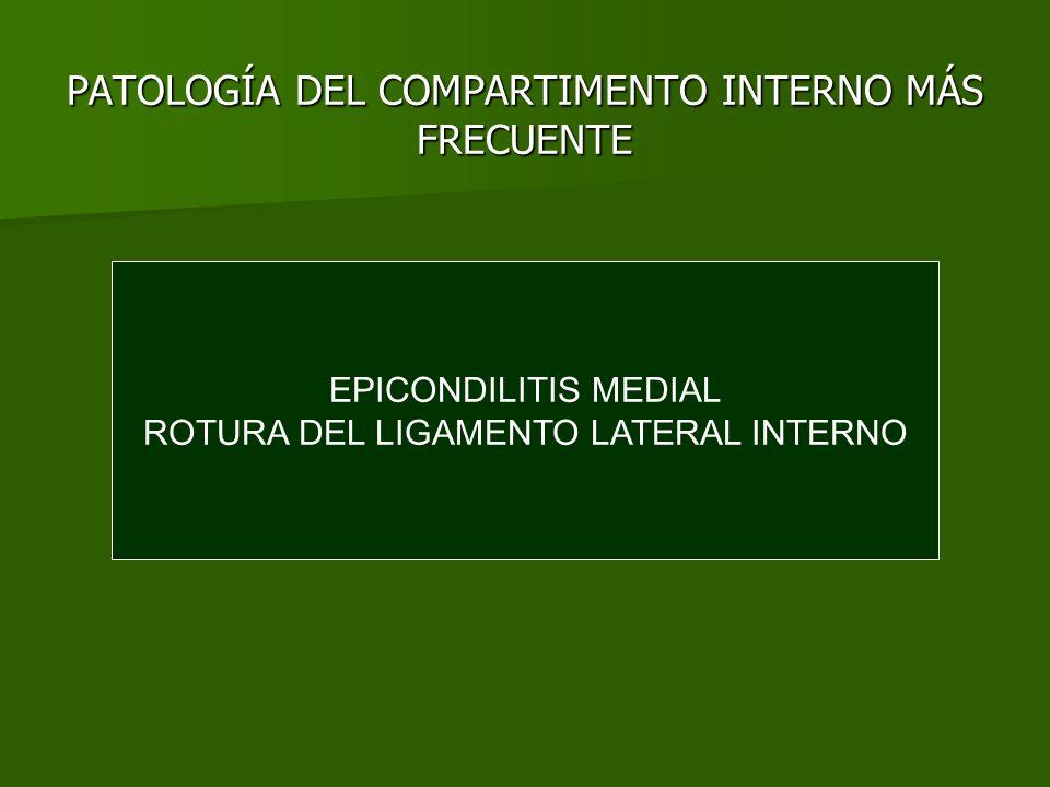 PATOLOGÍA DEL COMPARTIMENTO INTERNO MÁS FRECUENTE EPICONDILITIS MEDIAL ROTURA DEL LIGAMENTO LATERAL INTERNO