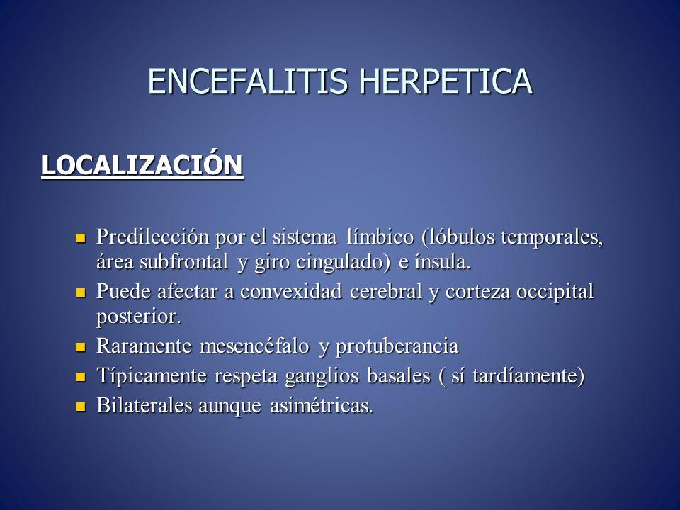 ENCEFALITIS HERPETICA LOCALIZACIÓN Predilección por el sistema límbico (lóbulos temporales, área subfrontal y giro cingulado) e ínsula.