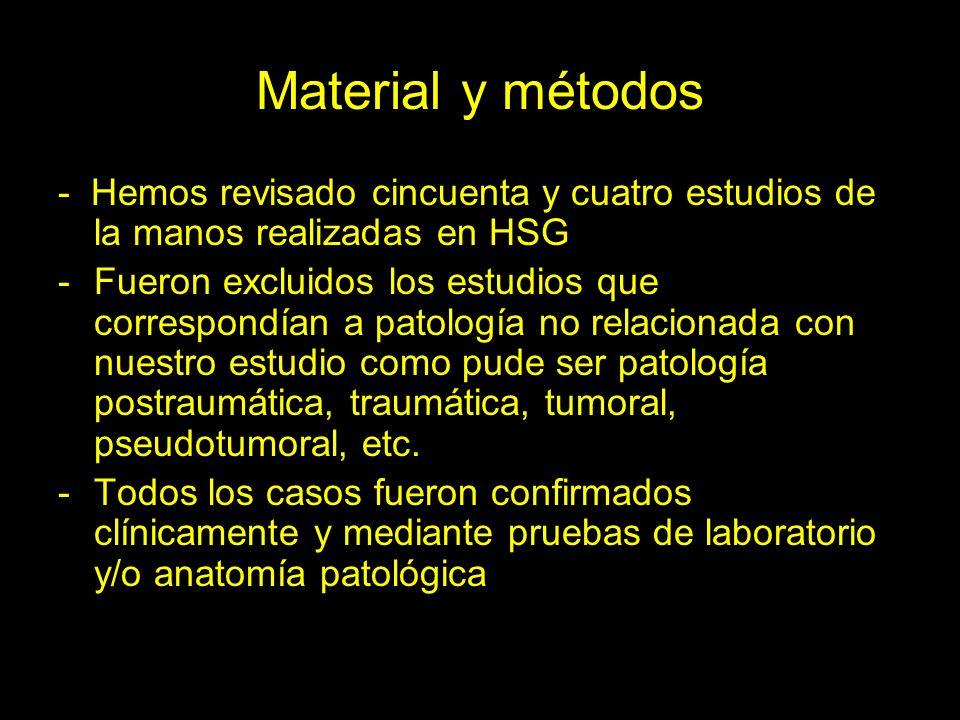 Material y métodos - Hemos revisado cincuenta y cuatro estudios de la manos realizadas en HSG -Fueron excluidos los estudios que correspondían a patología no relacionada con nuestro estudio como pude ser patología postraumática, traumática, tumoral, pseudotumoral, etc.