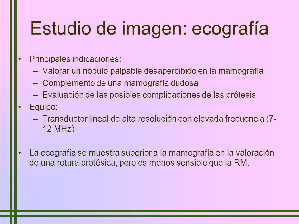 Estudio de imagen: ecografía Principales indicaciones: –Valorar un nódulo palpable desapercibido en la mamografía –Complemento de una mamografía dudos