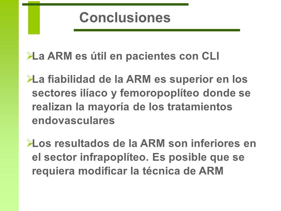 Conclusiones La ARM es útil en pacientes con CLI La fiabilidad de la ARM es superior en los sectores ilíaco y femoropoplíteo donde se realizan la mayo