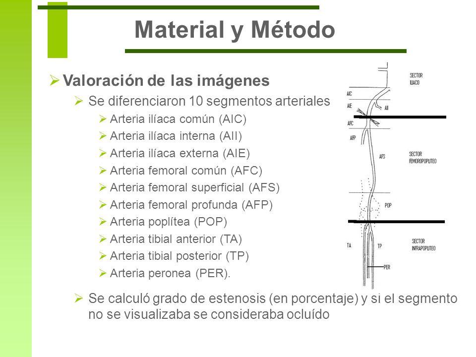 Material y Método Valoración de las imágenes Se diferenciaron 10 segmentos arteriales Arteria ilíaca común (AIC) Arteria ilíaca interna (AII) Arteria