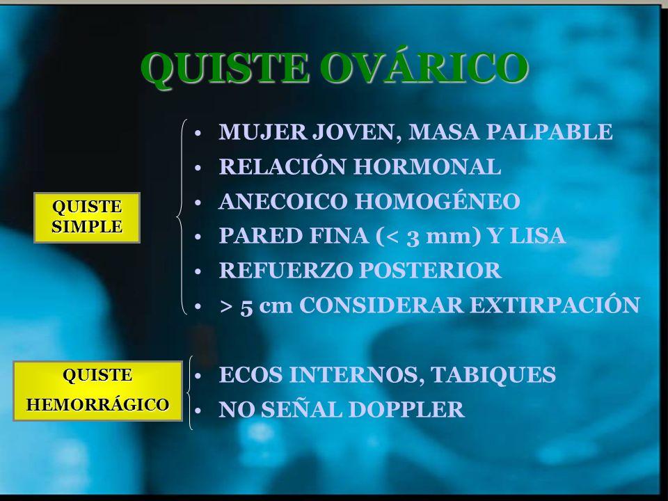 QUISTE OVÁRICO MUJER JOVEN, MASA PALPABLE RELACIÓN HORMONAL ANECOICO HOMOGÉNEO PARED FINA (< 3 mm) Y LISA REFUERZO POSTERIOR > 5 cm CONSIDERAR EXTIRPA