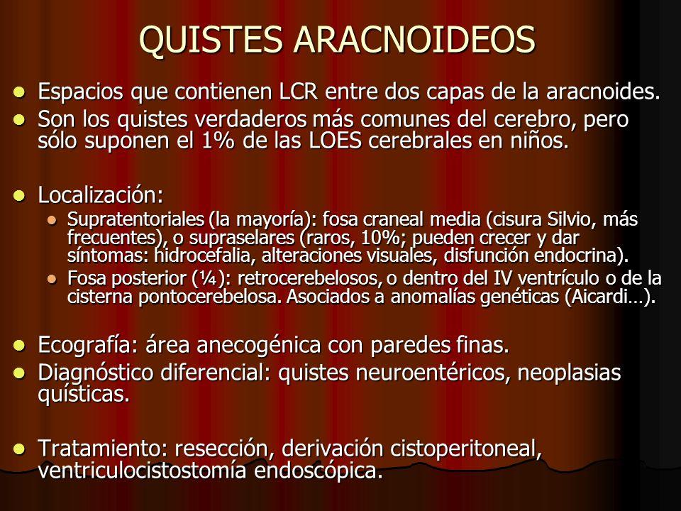 QUISTES ARACNOIDEOS Espacios que contienen LCR entre dos capas de la aracnoides. Espacios que contienen LCR entre dos capas de la aracnoides. Son los