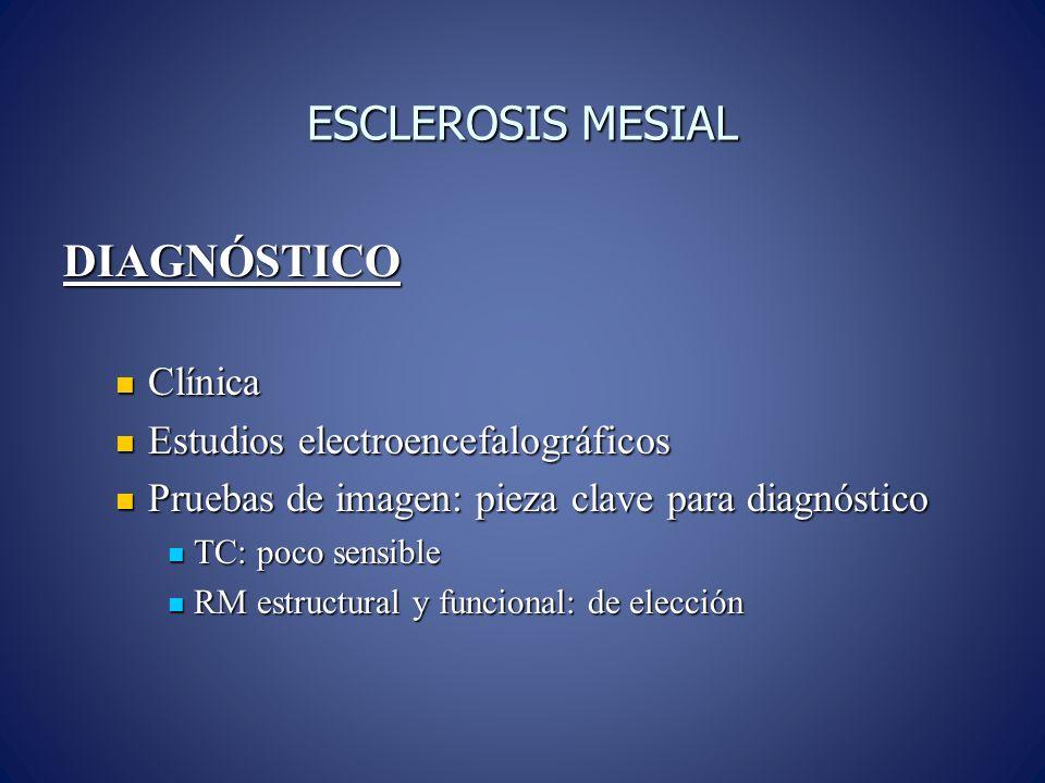 ESCLEROSIS MESIAL DIAGNÓSTICO Clínica Clínica Estudios electroencefalográficos Estudios electroencefalográficos Pruebas de imagen: pieza clave para di