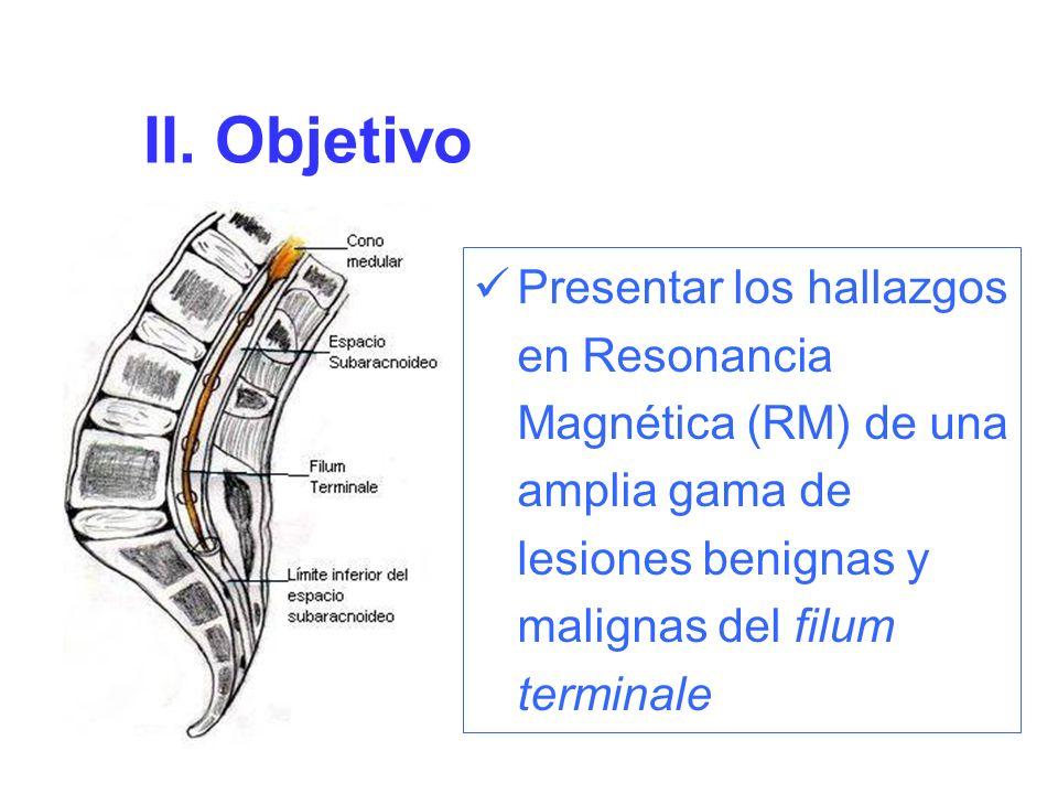 II. Objetivo Presentar los hallazgos en Resonancia Magnética (RM) de una amplia gama de lesiones benignas y malignas del filum terminale