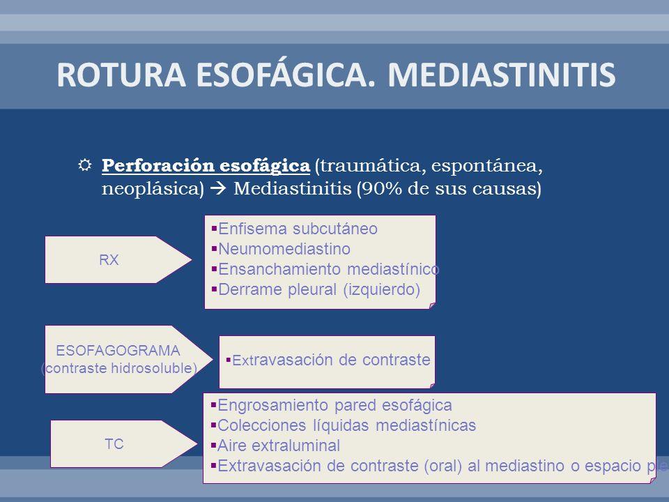 Perforación esofágica (traumática, espontánea, neoplásica) Mediastinitis (90% de sus causas) RX Enfisema subcutáneo Neumomediastino Ensanchamiento med