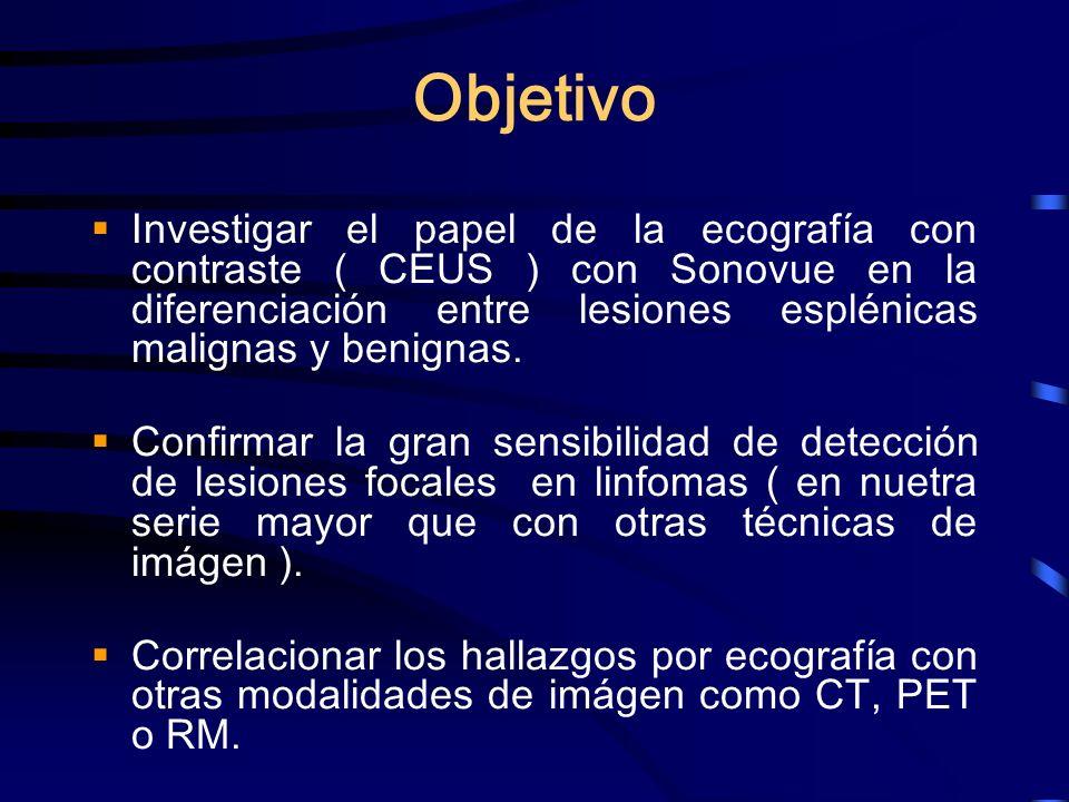 Objetivo Investigar el papel de la ecografía con contraste ( CEUS ) con Sonovue en la diferenciación entre lesiones esplénicas malignas y benignas. Co