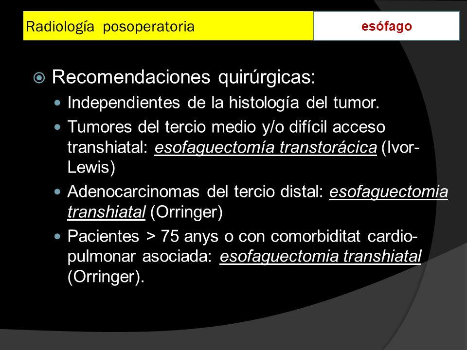 Radiología posoperatoria esófago Recomendaciones quirúrgicas: Independientes de la histología del tumor. Tumores del tercio medio y/o difícil acceso t