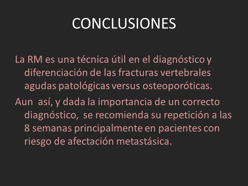 CONCLUSIONES La RM es una técnica útil en el diagnóstico y diferenciación de las fracturas vertebrales agudas patológicas versus osteoporóticas. Aun a