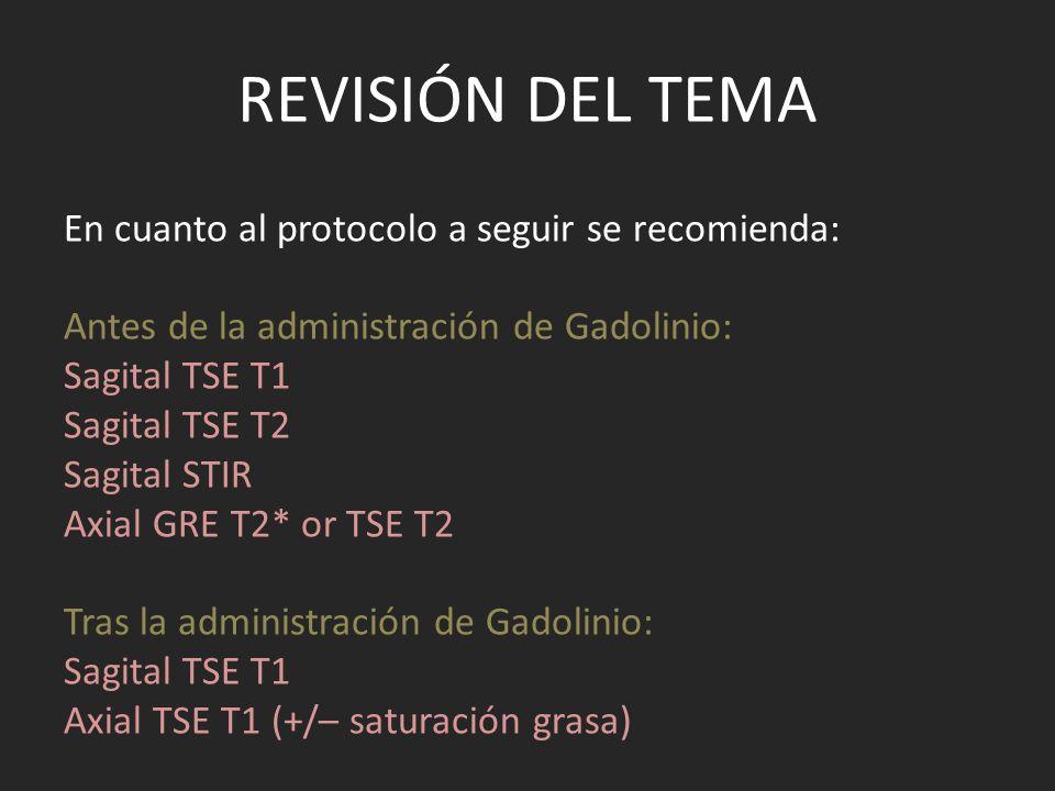 REVISIÓN DEL TEMA En cuanto al protocolo a seguir se recomienda: Antes de la administración de Gadolinio: Sagital TSE T1 Sagital TSE T2 Sagital STIR A
