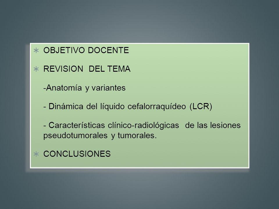 OBJETIVO DOCENTE REVISION DEL TEMA -Anatomía y variantes - Dinámica del líquido cefalorraquídeo (LCR) - Características clínico-radiológicas de las le