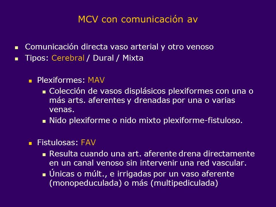 Corto-circuitos arteriovenosos Cerebrales (CAVc) MAVc Pial (parenquimatosa) Difusa (no nido compacto identificable sino colección difusa de múltiples vasos tortuosos) Mixta (hemodinámicamente pia-dural / histopatológicamente con ADV o AV) FAVc Malformación aneurismática V.