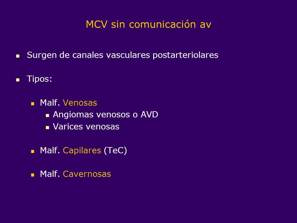 MCV sin comunicación av Surgen de canales vasculares postarteriolares Tipos: Malf. Venosas Angiomas venosos o AVD Varices venosas Malf. Capilares (TeC