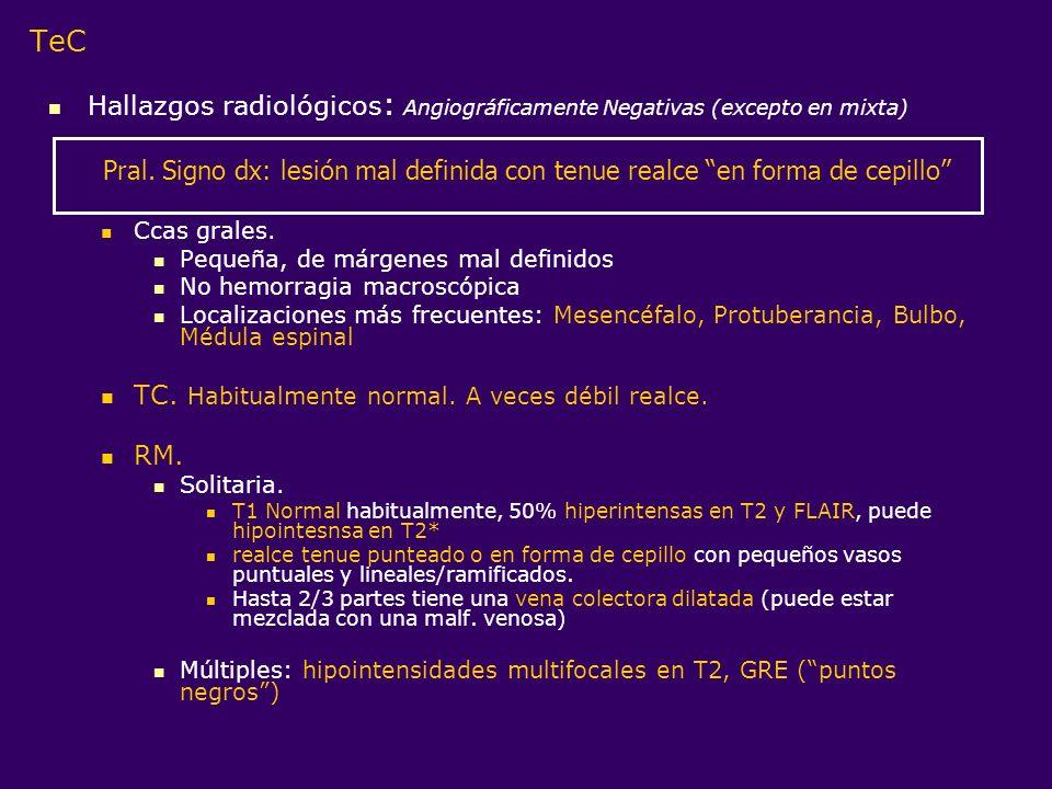 TeC Hallazgos radiológicos : Angiográficamente Negativas (excepto en mixta) Ccas grales. Pequeña, de márgenes mal definidos No hemorragia macroscópica