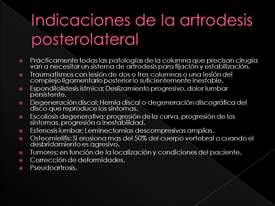 Prácticamente todas las patologías de la columna que precisan cirugía van a necesitar un sistema de artrodesis para fijación y estabilización. Traumat