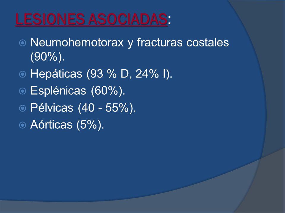 LESIONES ASOCIADAS LESIONES ASOCIADAS: Neumohemotorax y fracturas costales (90%). Hepáticas (93 % D, 24% I). Esplénicas (60%). Pélvicas (40 - 55%). Aó