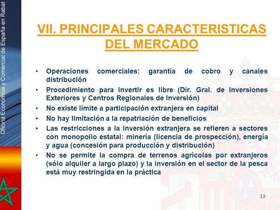 13 VII. PRINCIPALES CARACTERISTICAS DEL MERCADO Operaciones comerciales: garantía de cobro y canales distribución Procedimiento para invertir es libre