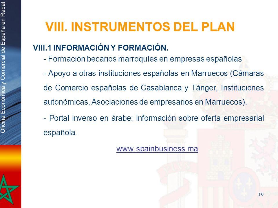 19 VIII. INSTRUMENTOS DEL PLAN VIII.1 INFORMACIÓN Y FORMACIÓN. - Formación becarios marroquíes en empresas españolas - Apoyo a otras instituciones esp