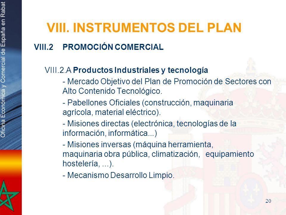 20 VIII. INSTRUMENTOS DEL PLAN VIII.2PROMOCIÓN COMERCIAL VIII.2.A Productos Industriales y tecnología - Mercado Objetivo del Plan de Promoción de Sect