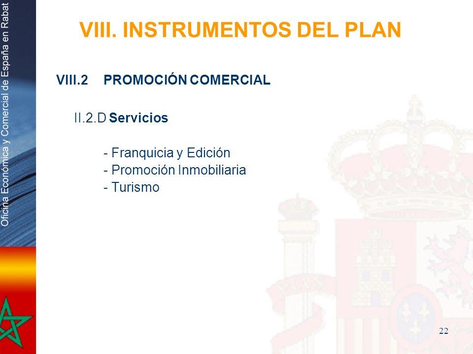 22 VIII. INSTRUMENTOS DEL PLAN VIII.2PROMOCIÓN COMERCIAL II.2.D Servicios - Franquicia y Edición - Promoción Inmobiliaria - Turismo