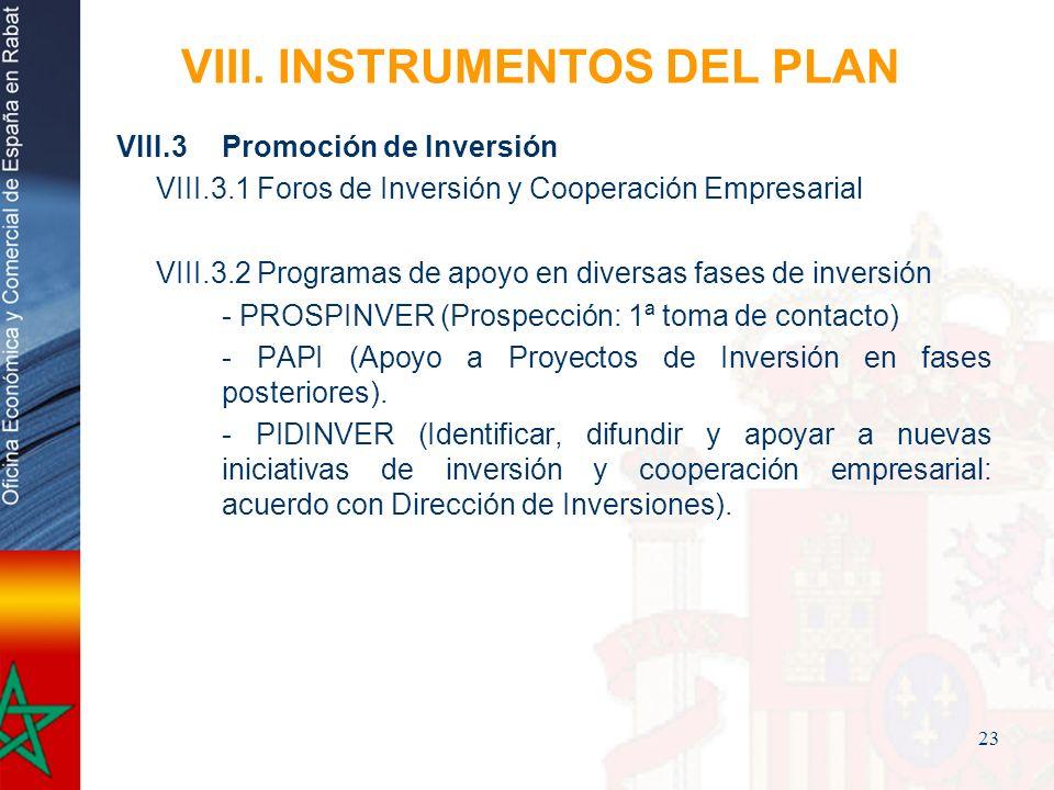 23 VIII. INSTRUMENTOS DEL PLAN VIII.3Promoción de Inversión VIII.3.1 Foros de Inversión y Cooperación Empresarial VIII.3.2 Programas de apoyo en diver