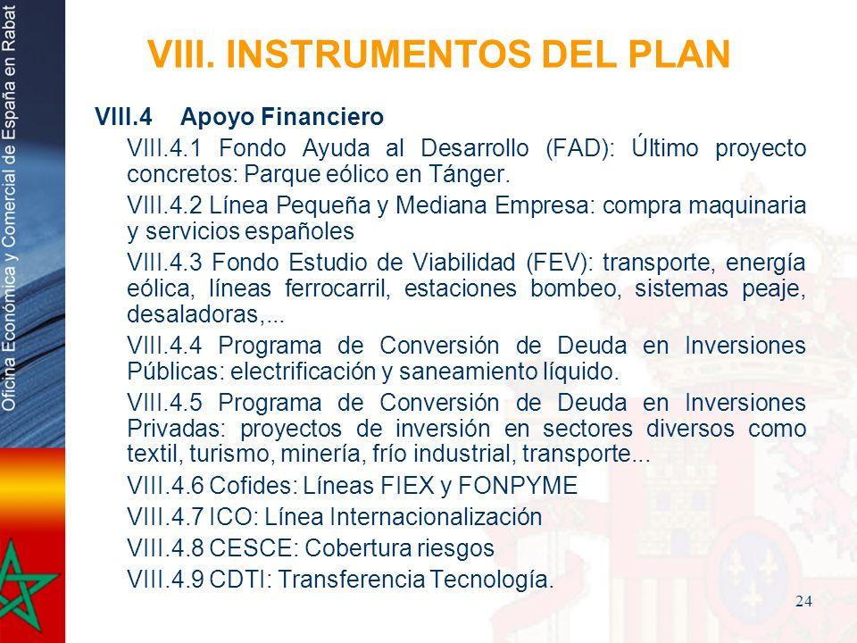 24 VIII. INSTRUMENTOS DEL PLAN VIII.4Apoyo Financiero VIII.4.1 Fondo Ayuda al Desarrollo (FAD): Último proyecto concretos: Parque eólico en Tánger. VI