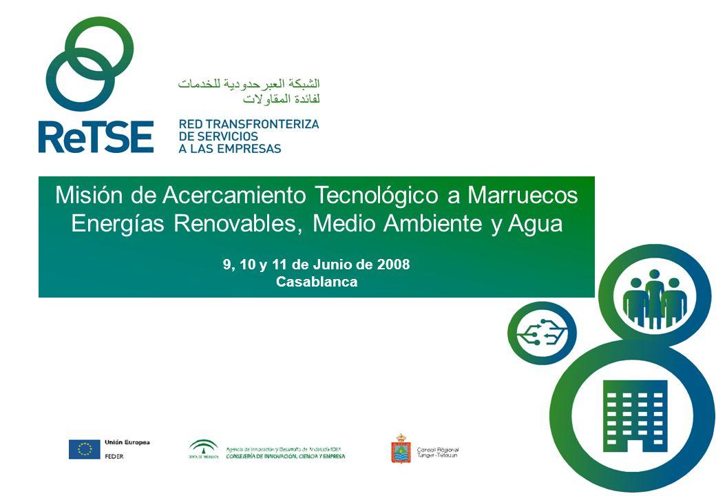 ReTSE es un proyecto promovido por la Consejería de Innovación, Ciencia y Empresa a través de la Agencia de Innovación y Desarrollo de Andalucía (IDEA), con la colaboración del Conseil Régional Tanger-Tétouan y cofinanciado por el Fondo Europeo de Desarrollo Regional (FEDER) en el marco de la Iniciativa Interreg III A España - Marruecos.