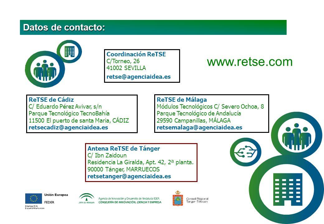 ReTSE de Málaga Módulos Tecnológicos C/ Severo Ochoa, 8 Parque Tecnológico de Andalucía 29590 Campanillas, MÁLAGA retsemalaga@agenciaidea.es www.retse.com Coordinación ReTSE C/Torneo, 26 41002 SEVILLA retse@agenciaidea.es ReTSE de Cádiz C/ Eduardo Pérez Avivar, s/n Parque Tecnológico TecnoBahía 11500 El puerto de santa Maria, CÁDIZ retsecadiz@agenciaidea.es Antena ReTSE de Tánger C/ Ibn Zaidoun Residencia La Giralda, Apt.
