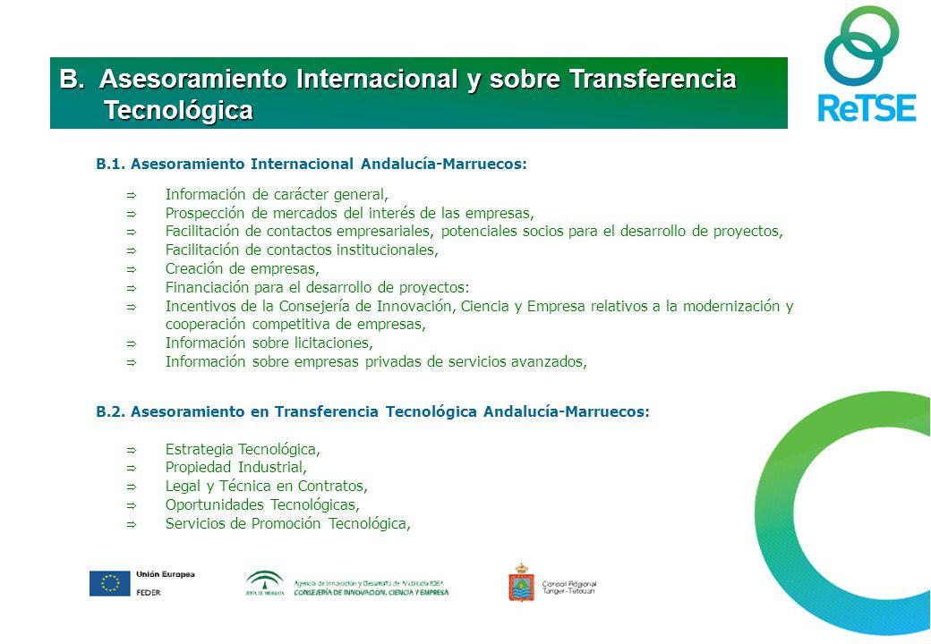 B.1. Asesoramiento Internacional Andalucía-Marruecos: Información de carácter general, Prospección de mercados del interés de las empresas, Facilitaci