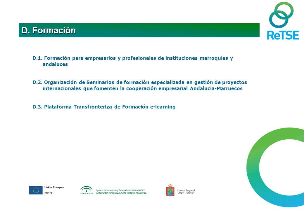 D.1. Formación para empresarios y profesionales de instituciones marroquíes y andaluces D.2.