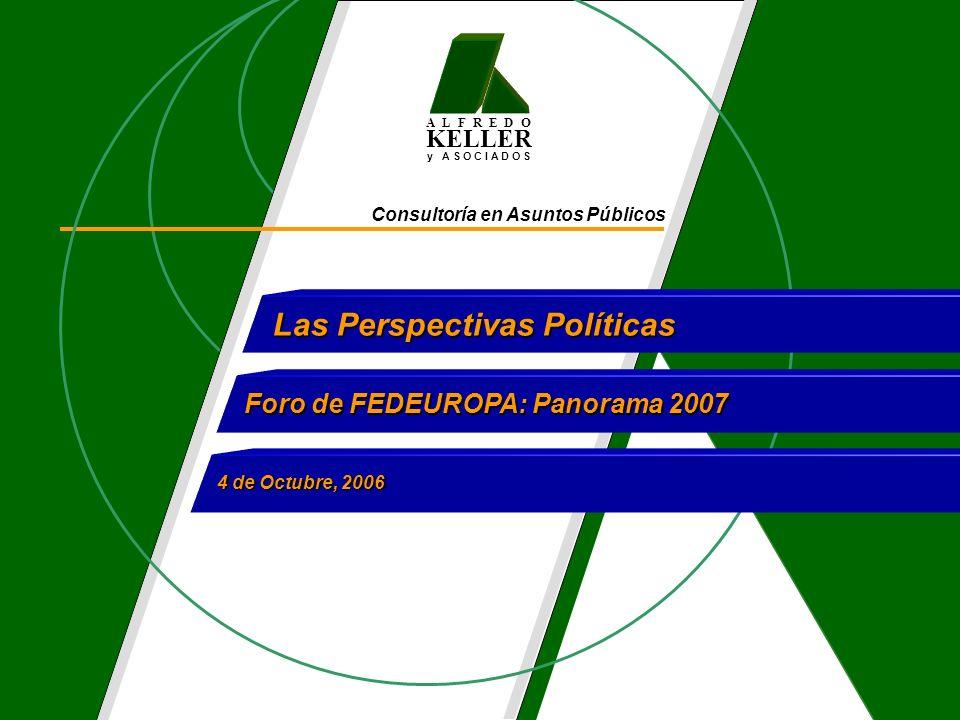 A L F R E D O KELLER y A S O C I A D O S Consultoría en Asuntos Públicos Las Perspectivas Políticas Foro de FEDEUROPA: Panorama 2007 4 de Octubre, 2006
