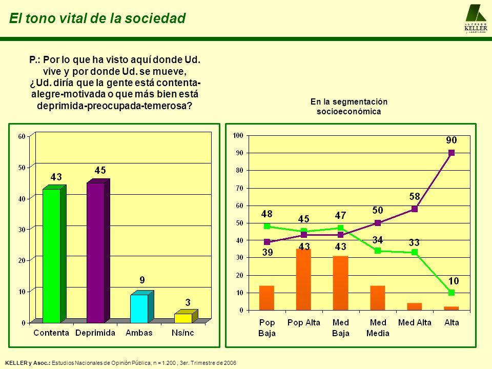 La atención gubernamental a los problemas de la agenda popular A L F R E D O KELLER y A S O C I A D O S Promedios: 2º trimestre 2006: mejor = 30%; peor = 45%; igual = 23%.