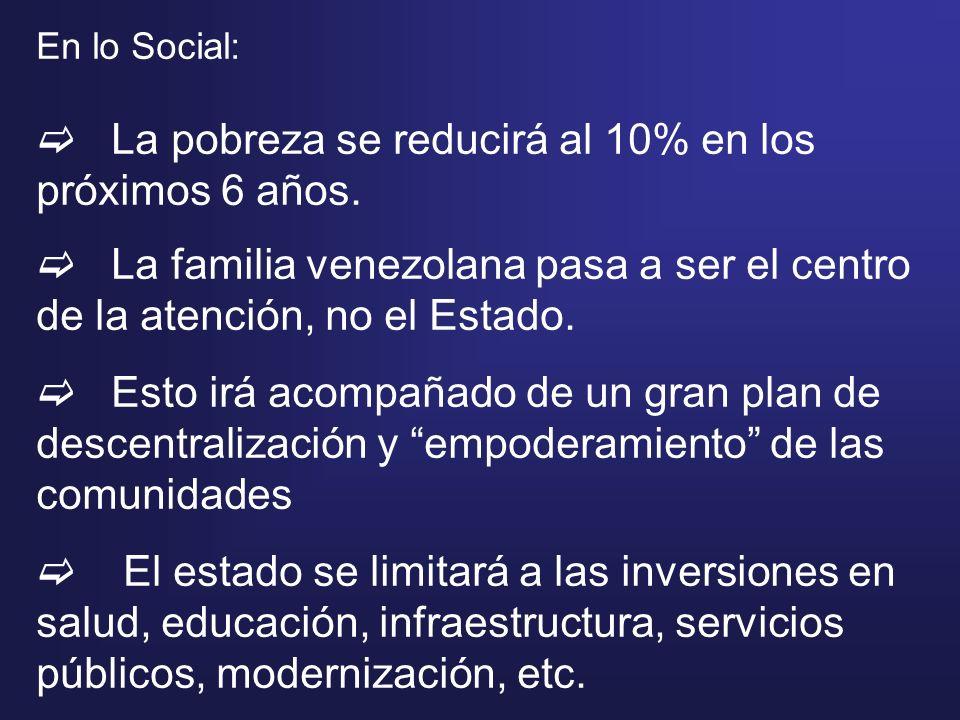En lo Social: La pobreza se reducirá al 10% en los próximos 6 años. La familia venezolana pasa a ser el centro de la atención, no el Estado. Esto irá
