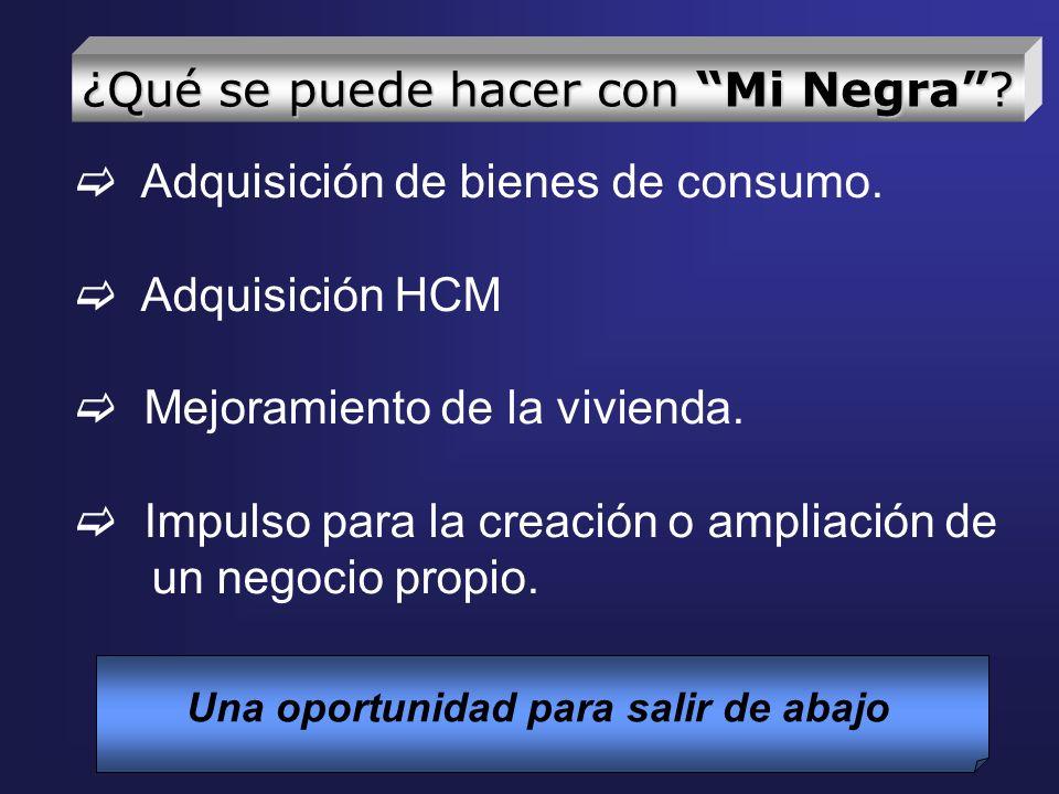 Adquisición de bienes de consumo. Adquisición HCM Mejoramiento de la vivienda. Impulso para la creación o ampliación de un negocio propio. Una oportun