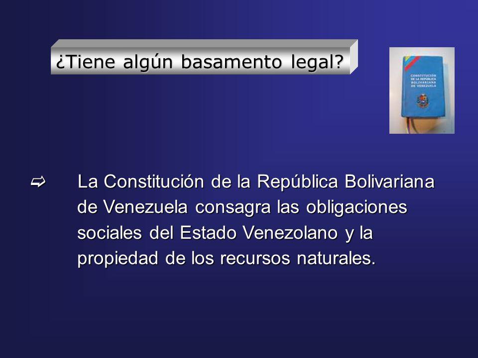 La Constitución de la República Bolivariana de Venezuela consagra las obligaciones sociales del Estado Venezolano y la propiedad de los recursos natur