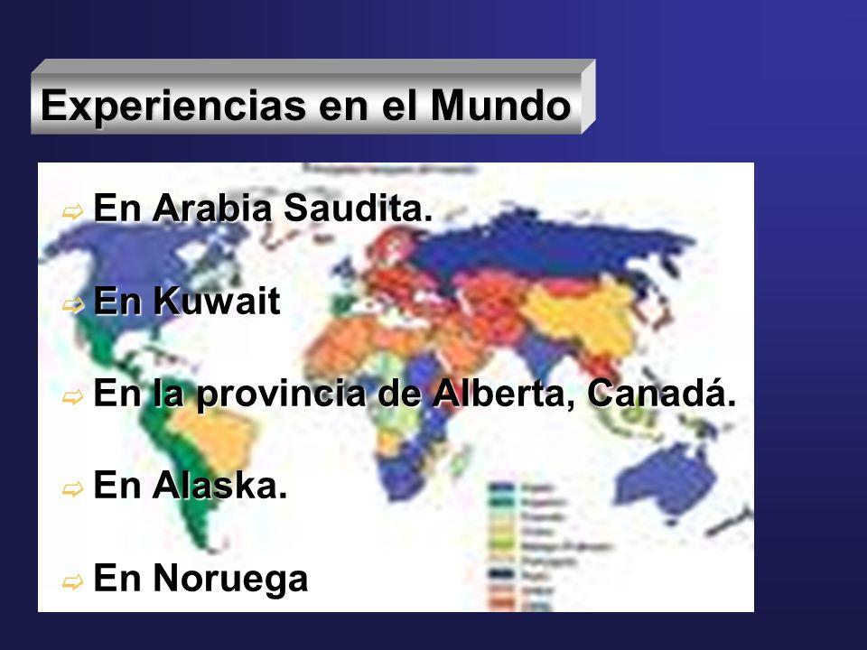 Experiencias en el Mundo En Arabia Saudita. En Arabia Saudita. En Kuwait En Kuwait En la provincia de Alberta, Canadá. En la provincia de Alberta, Can