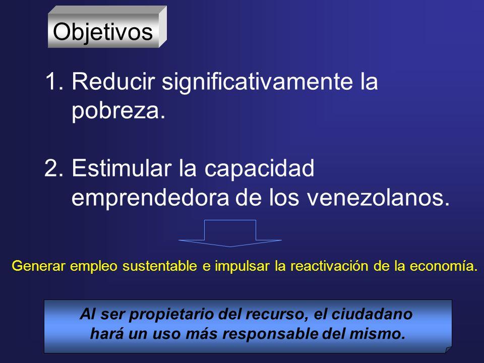 Objetivos 1.Reducir significativamente la pobreza. 2.Estimular la capacidad emprendedora de los venezolanos. Al ser propietario del recurso, el ciudad