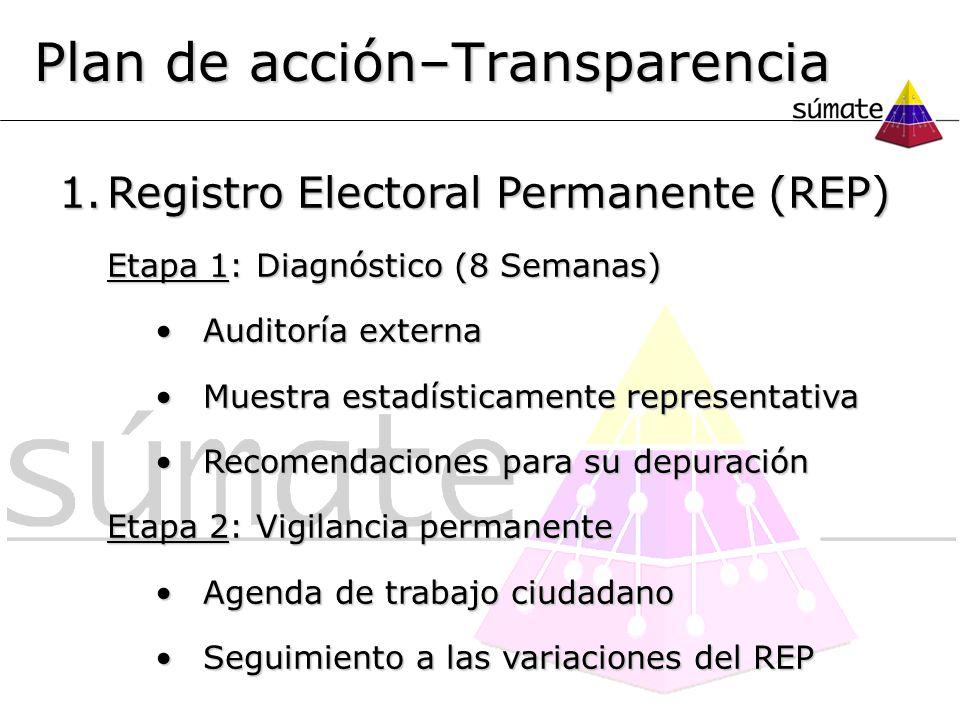 1.Registro Electoral Permanente (REP) Etapa 1: Diagnóstico (8 Semanas) Auditoría externaAuditoría externa Muestra estadísticamente representativaMuest