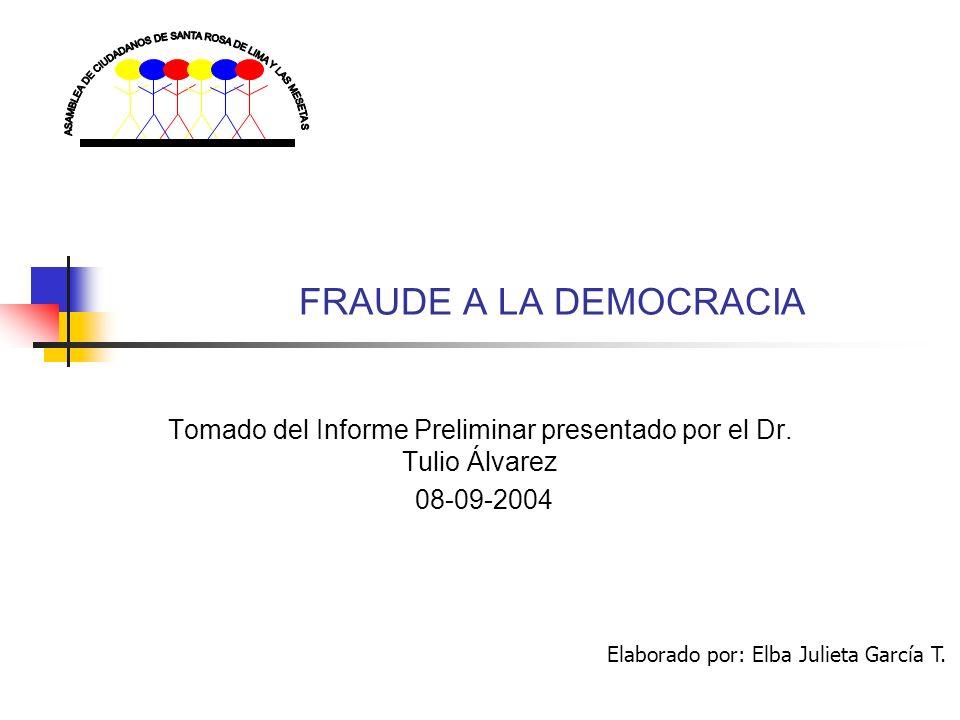 FRAUDE A LA DEMOCRACIA Tomado del Informe Preliminar presentado por el Dr.
