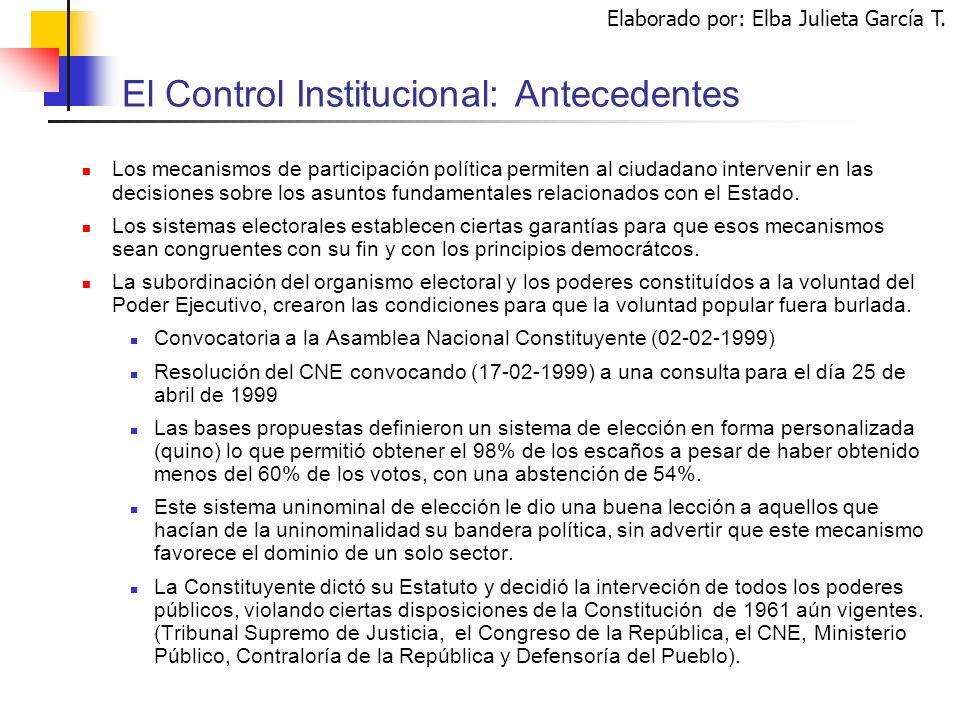 El Control Institucional: Antecedentes Los mecanismos de participación política permiten al ciudadano intervenir en las decisiones sobre los asuntos fundamentales relacionados con el Estado.